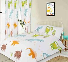 Duvet cover set double bed white orange dinosaur t-rex brachinosaurus