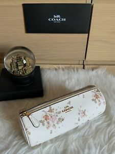 NWT COACH 91787 CHALK MAKEUP BRUSH HOLDER WITH ROSE BOUQUET PRINT