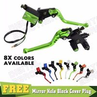 "Universal Motorcycle Brake Clutch levers Master Cylinder Reservoir Set 7/8"" 22mm"