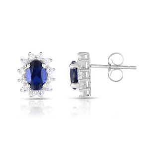 10k White Gold Lab created blue sapphire and white topaz Earrings