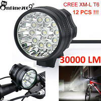 30000LM 12x CREE T6 LED Bicycle Lamp Headlight 3 Modes Bike Light Cycling Torch