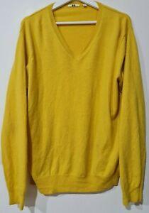 Uniqlo Women's Yellow 100% Cashmere V Neck Sweater Size XL / Extra Large