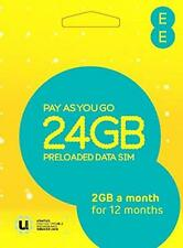 EE PAYG 4g Data SIM Card Preloaded With 24gb - 2gb a Month for 12 Months