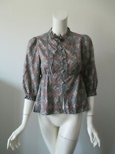 Marc By Marc Jacobs Gray Paisley Button Down Babydoll Silk Shirt Blouse 2