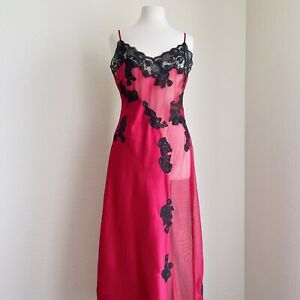 Frederick's Of Hollywood Red Sheer Lace Maxi Gown