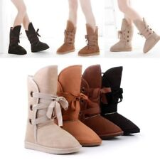 Womens Back Lace Up Winter Snow Boots Warm Suede Fur Mid-calf Flat Shoes Booties