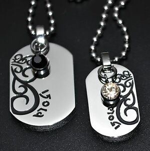 Partner Necklace Tendril Stainless Steel Crystal Pendant Chains Black Rhinestone