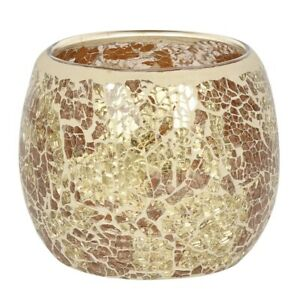 Gold Crackle Glass Candle Holder Height 9.5 cm