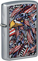 Zippo Lighter American Eagle Design Street Chrome Made In The USA 16607
