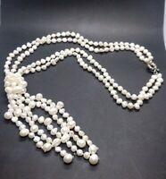 """Vintage Genuine Real Natural White River Pearl Necklace Pendant Beaded L28"""""""