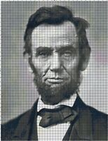Abraham Lincoln Portrait Historic DIGITAL Counted Cross-Stitch Pattern Chart