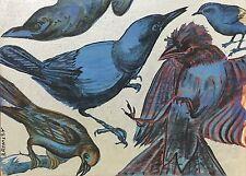 """DAVID BROMLEY """"Birds"""" Polymer & Silver Leaf on Canvas 70cm x 96cm FRAMED"""