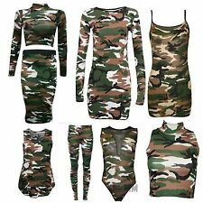 Ladies Women Camouflage Army Sleeveless Vest Top Leggings Shrug Skirt Plus Size