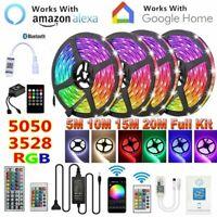 20M 10M 5M 5050 3528 RGB LED Strip Light Kit WiFi/Bluetooth/Music/44 Key Control