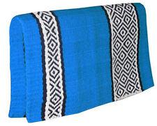 "NEW Aqua Blue Western Saddle Show Pad Blanket Navajo New Zealand Wool 33"" x 32"""