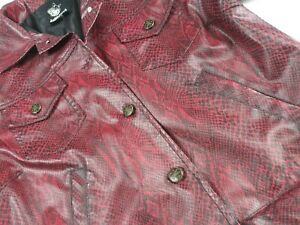 Red Snakeskin Satin Lined Jacket Faux Animal print leather