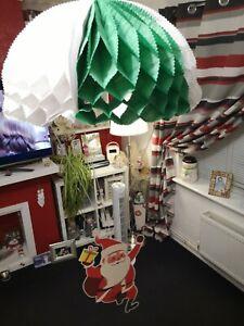 Very Cute Santa Father Xmas Card & Paper Parachute Hanging Christmas Decoration