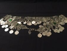 Belly Dance Coin Belt with Inset Green Stones