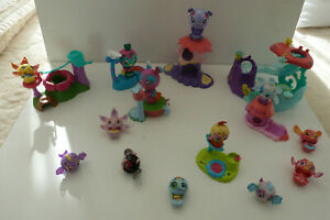 3  LARGE & 10 SMALL ZOOBLES FIGURES + STANDS - PLAYSETS - BUNDLE