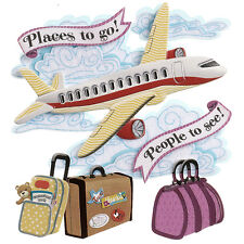 Airplane Clouds Places To Go Suitcase Baggage Vacation Jolee's 3D Sticker
