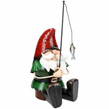 Hand Painted Metal Garden Gnome Fishing Gift Ornament  20x18x39.5cm