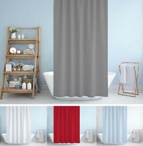 Rideau de douche en tissu extra long en blanc, bleu, gris ou rouge 180 x 200cm