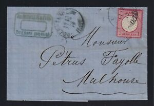 Germany Alsace 1872 1gr Large Shield Cover Obernai to Mulhouse Horseshoe Cancel