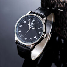 Mercede Bens Mens Watch Stainless Steel Black Leather Strap Watch- Black Face