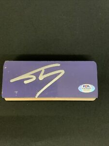 SHAQUILLE O'NEAL LAKERS SIGNED STAPLES CENTER 2 1/2X 6 INCH FLOOR PSA 9A22693