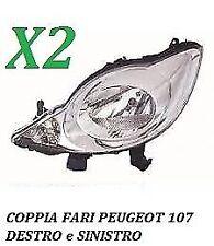 COPPIA FARI FANALE PROIETTORE ANTERIORE SX DX PEUGEOT 107 DAL 2005 AL 2012 H4