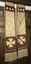 Early Religious Vestments Silk Velvet Gothic Gold Thread Jeweled Clergy Stole