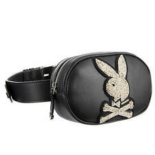 PHILIPP PLEIN X PLAYBOY Crystals Leather Bunny Belt Bag Pouch Black Logo 08674