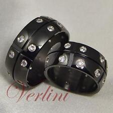 9MM Black Titanium Rings Simulated Diamonds Wedding Bands Matching Set Jewelry