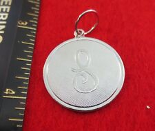 """14 KT WHITE GOLD EP LARGE(OVER 1"""") ROUND INITIAL DISC LETTER S PENDANT CHARM"""