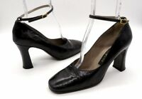 PATRICK COX Size 39.5 Black Ankle Strap Square Toe Monogram High Heels Shoes