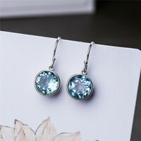 Vintage Silver Round Cut Aquamarine Drop Earrings Aqua Blue Crystal Dangle Ears