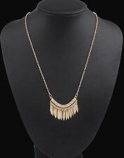 Fashion Women Gold Bib Crystal Rhinestone Long Chain Statement Necklace Pendant