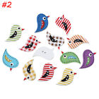 Hot 50Pcs Crafts Handmade Wood Sewing Button Scrapbooking Bird Painting Mixed