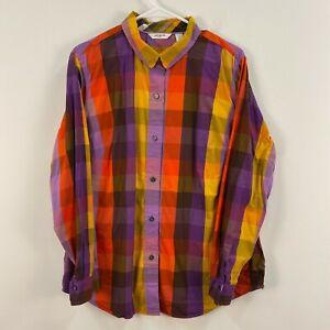 Liz Claiborne Womens 1X Plus Blouse Top Shirt Red Purple Plaid Collar Neck DD108