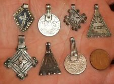 34mm Pendentif Perle Argent Ancien Maroc Ethnique Antique Silver Pendant Morocco