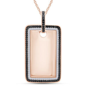 1.5 CT DIAMOND SIMULATED DOG TAG PENDANT 14K ROSE GOLD OVER STERLING 18""