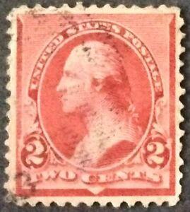 1890 2c Washington, cap on left 2, regular issue, Scott #220a, Used, F-VF