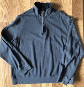 Men's XXL Sweatshirt Long Sleeved Gray Ribbed Zip front Mock Neck Van Heusun
