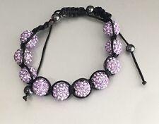Crystal Macramé Disco Ball Czech Crystal Pull Bracelet Shamballa Hematite beads