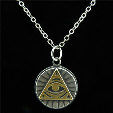 Antique Pewter Stainless Steel Triangle Egyptian Eye Amulet Collar Necklace