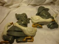 Set (2) Vintage 1988 HOME INTERIOR Homco Burwood Boy & Girl Geese Wall Art    23