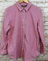 Lauren Ralph Lauren button down shirt blouse womens 14W dark pink stripe top J8
