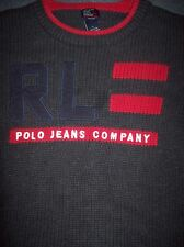 Ralph Lauren Polo Jeans Company Logo Front Dark Gray Pullover Sweater Knit Sz L
