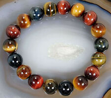 New 10mm Natural Colorful Tiger's Eye Stone Round Beads Stretchy Bracelet Bangle