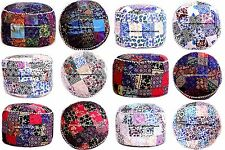 "24"" Indian Bohemian Patchwork Pouf Ottoman Mandala Print Round Floor Pouffe Case"